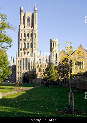 The west tower of Ely Cathedral in Cambridgeshire a medieval structure restored in the Victorian period.. Seen form the south-east of the cathedral. - Stock Image