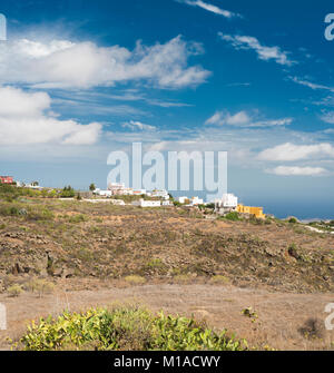 The town of Arona viewed from a walking path across the Barranco del Ancón, Tenerife, Canary Islands, Spain - Stock Image