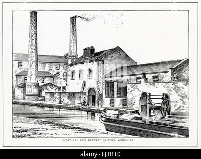 Scott & Co's Brewery, Skipton, 1890 engraving of the Yorkshire brewery founded by Christopher Scott in 1816 - Stock Image