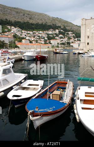 Pleasure boats moored in Dubrovnik harbour, Croatia - Stock Image