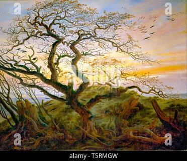 Caspar David Friedrich, Tree of crows (coast of the Baltic Sea), painting, c. 1822 - Stock Image