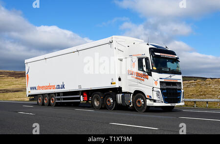Stevenson Bros.Avonbridge HGV. M6 Motorway, Southbound, Shap, Cumbria, England, United Kingdom, Europe. - Stock Image