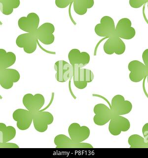 Pattern with green clovers, isolated vector texture - Stock Image