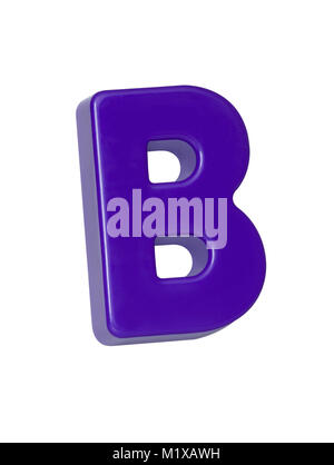 A cut out shot of a purple plastic letter 'B' - Stock Image