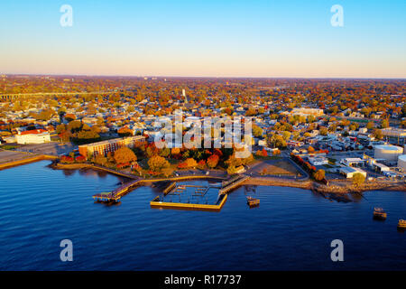 Aerial View of town Along Delaware River in New Jersey - Stock Image