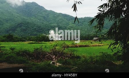 Scenic View Of Agricultural Field Against Mountain - Stock Image