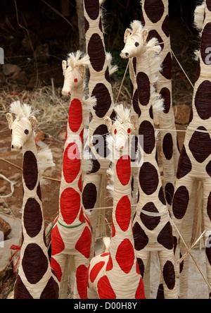Malagasy Straw Giraffes. Antsirabe, Madagascar, Africa. - Stock Image