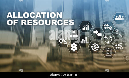 Allocation of resources concept. Strategic planning. Mixed media. Abstract business background. Financial technology and communication concept - Stock Image