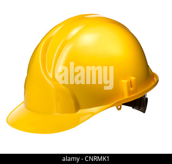 A cut out of a Yellow construction hard hat - Stock Image
