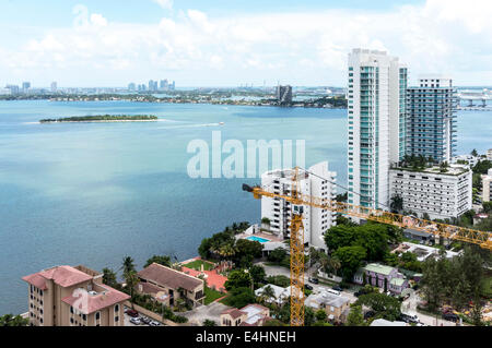 Aerial view of Biscayne Bay viewed from an upper floor of a new condominium high-rise tower in Midtown Miami, Florida, - Stock Image
