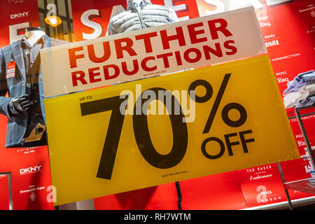 70%,Sale,Sign,Further Reductions,High Street,Store,Downturn,Sales - Stock Image