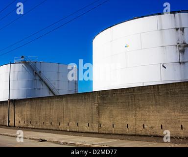 oil storage tanks - Stock Image