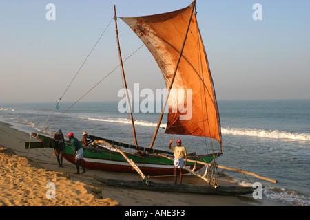 Traditional sailing boat on Negombo beach Sri Lanka - Stock Image