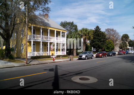 Refurbished homes on Government street in Pensacola, Florida, USA - Stock Image