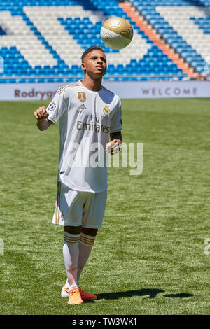 Rodrygo Goes seen during his presentation as a new player of Real Madrid at the Santiago Bernabeu Stadium in Madrid. - Stock Image