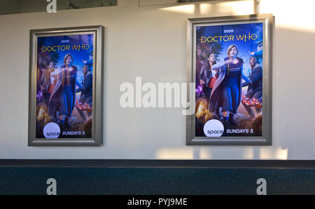 Advertising for the new season of British sc-fi series, Doctor Who, as seen at the Vancouver Airport in Canada. - Stock Image