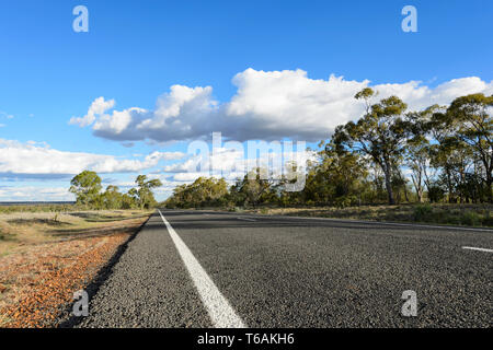 A straight and deserted stretch of the Carnarvon Highway with a white line, in the Queensland interior, QLD, Australia - Stock Image