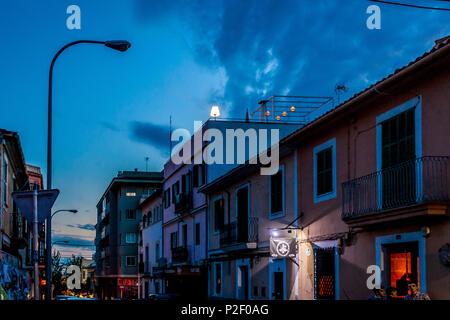 Lonely lamp at night on a rooftop of Palma, Old town, Palma de Mallorca, Majorca, Balearic Islands, Mediterranean Sea, Spain, Eu - Stock Image