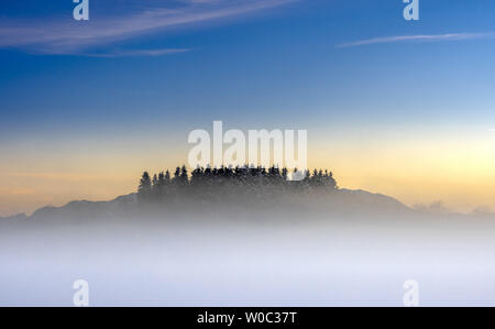 Misty swaths in winter landscape in the evening - Stock Image