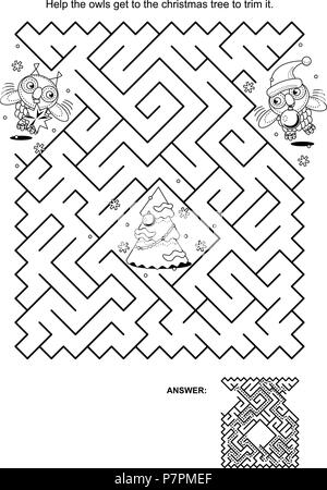 Maze game and coloring page: Help the owls get to the christmas tree to trim it. Answer included. - Stock Image