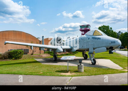 Fairchild Republic A-10A Thunderbolt II (the Warthog) on display at the Museum of Aviation in Warner Robins Georgia (USA) near Robins Air Force Base - Stock Image