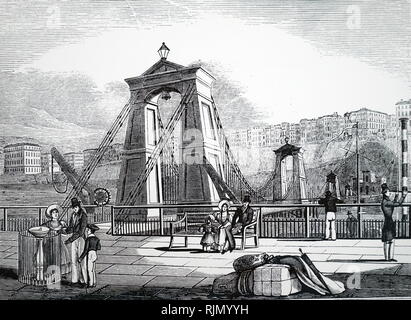 Illustration showing Chain pier at Brighton, England  (1823). Designed by Samuel Brown , R.N. (1774-1852) using his design of flat chain link. - Stock Image