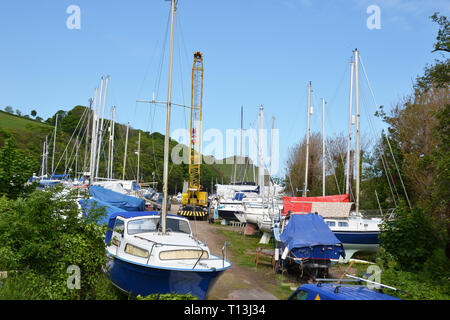 Boats in storage at Watermouth Harbour, Devon, UK - Stock Image