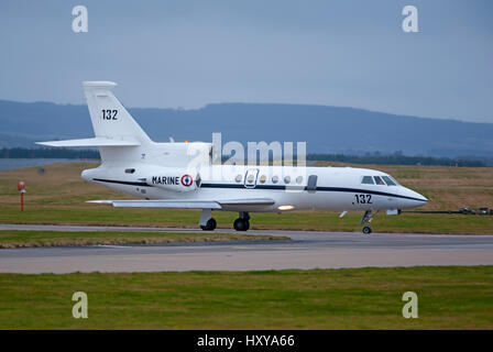 French Navy Dassault Falcon 50 SURMAR arriving at RAF Lossiemouth as part of the 2017 Joint Warrior exercise in - Stock Image