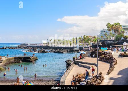 View of the water park, puerto de la cruz, Tenerife - Stock Image