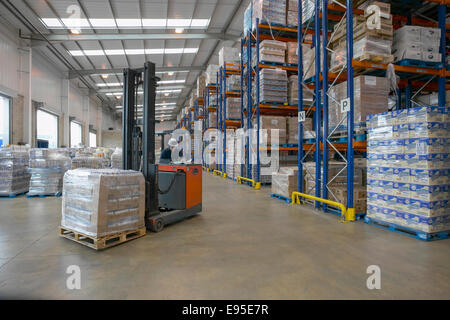 Storage warehouse forklift truck racking - Stock Image
