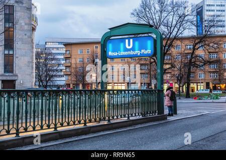 Berlin, Mitte  Entrance to Rosa-Luxemburg-Platz underground U-bahn railway station - Stock Image