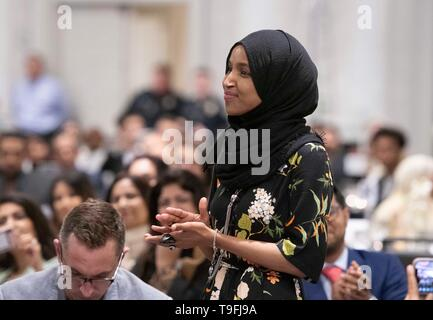 Congresswoman Ilhan Omar of Minnesota's 5th Congressional District is introduced at the annual city-wide iftar dinner in Austin, Texas, in honor of the 14th day of Ramadan. In her speech, Omar called for peace and harmony in today's divisive climate. - Stock Image