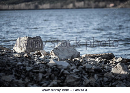 At the big Brombachsee lake center Ramsberg - Stock Image