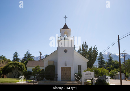 Pioneer Memorial Church in the town of Independence, Inyo County, California, USA - Stock Image