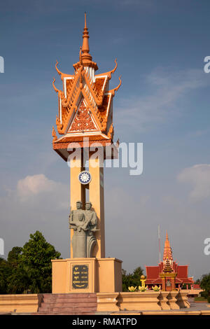 Cambodia, Kampot Province, Kep, Vietnam Kampuchea Friendship Monument, and traditional ,style Kep Museum - Stock Image