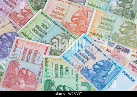 Banknotes of Zimbabwe after hyperinflation - Stock Image