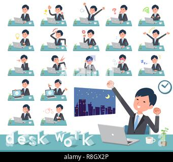 A set of businessman on desk work.There are various actions such as feelings and fatigue.It's vector art so it's easy to edit. - Stock Image