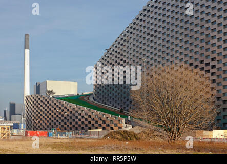 Lower end of Amager ski slope the Copenhill ski slope on the waste-to-energy plant Amager Ressource Center in Copenhagen. Architect Bjarke Ingels BIG. - Stock Image