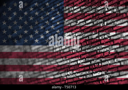 United States of America flag  is depicted on the screen with the program code. The concept of modern technology and site development. - Stock Image