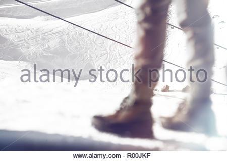 Legs of man on ski field in Spain - Stock Image