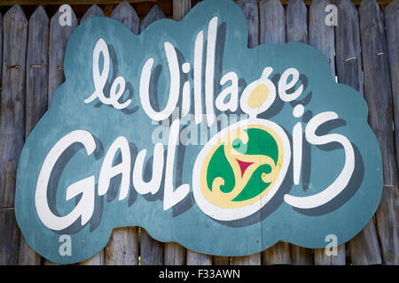 Sign for Le Village Gaulois, Cotes d'Armor, Brittany, France, Europe. - Stock Image