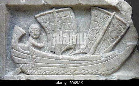 6345. Mesopotamian sailing boat, c. 2nd. C. AD. - Stock Image