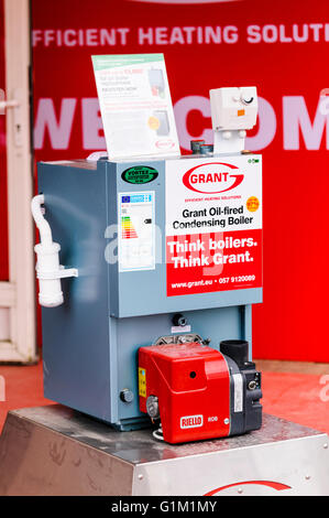 Grant oil-fired condensing boiler on display at a dealer. - Stock Image