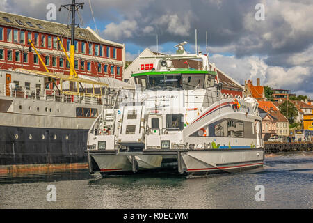 Ferry  In The Harbour,    Stavanger  Norway - Stock Image