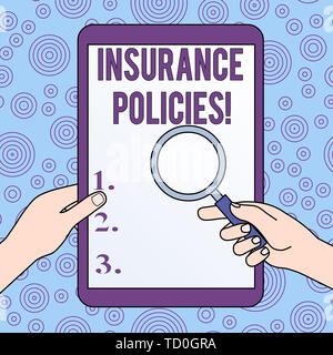 Conceptual hand writing showing Insurance Policies. Concept meaning Documented Standard Form Contract Financial Reimbursement Hands Holding Magnifying - Stock Image