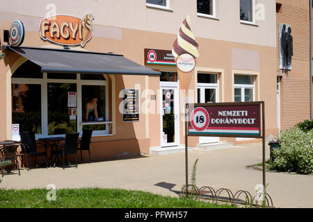 government run tobacco shop next door to an ice cream parlour in lenti zala county hungary - Stock Image