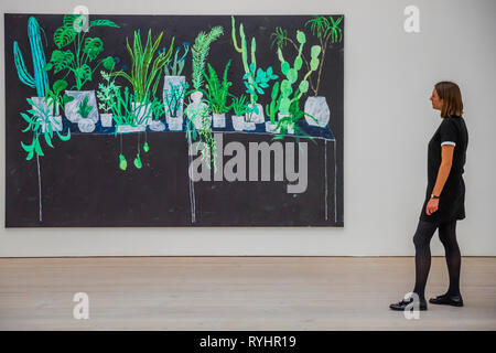London, UK. 14th Mar 2019. Botanical Selection by Tom Howse - Saatchi Gallery presents KALEIDOSCOPE, a new exhibition featuring the work of 9 international contemporary artists working across a variety of mediums, including Laura Buckley's interactive large-scale kaleidoscope Fata Morgana. Credit: Guy Bell/Alamy Live News - Stock Image