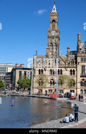 City Hall from Centenary Square, Bradford, West Yorkshire - Stock Image