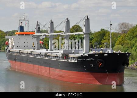 Handymax Bulkcarrier Western Coronel passing the Kiel Canal - Stock Image