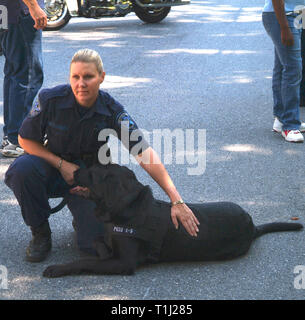 Police officer with her bomb dog - Stock Image